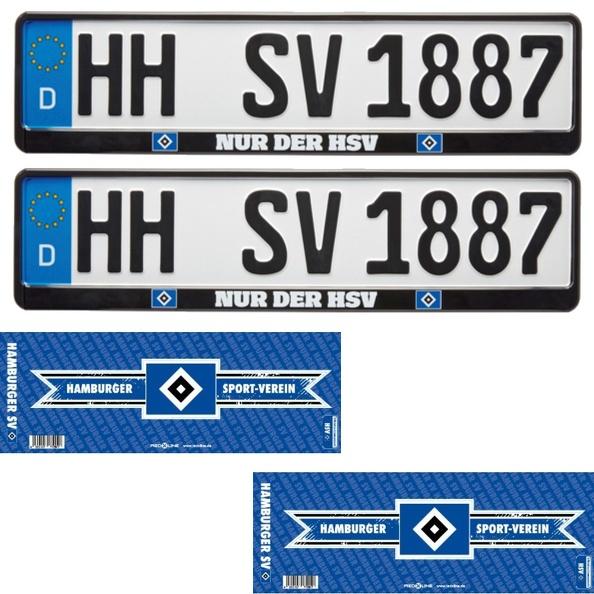 """HSV Kennzeichenverstärker Nummernschildhalter  /"""" Nur der HSV /"""" 2 Stück"""