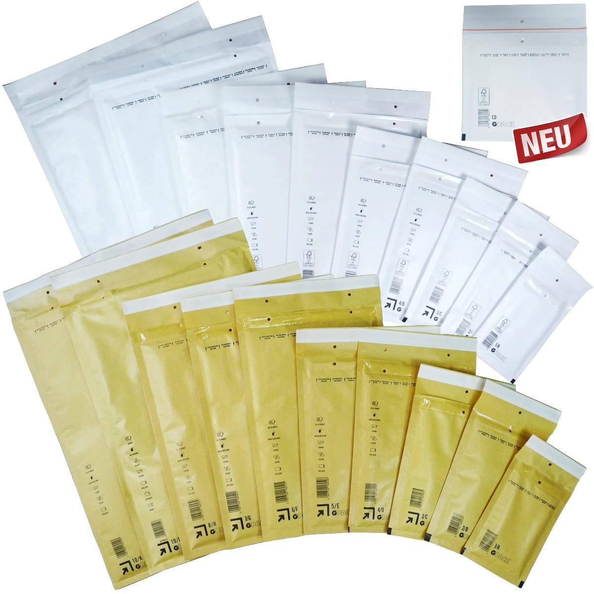 Braune Weiße Luftpolsterumschläge Luftpolstertaschen Versandtaschen 1A-10K