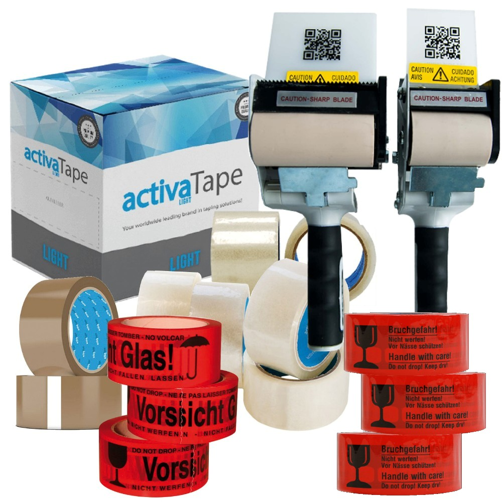 activaTape PP- Klebeband Packbandabroller 48/72mm x 66lfm braun/transparent/rot