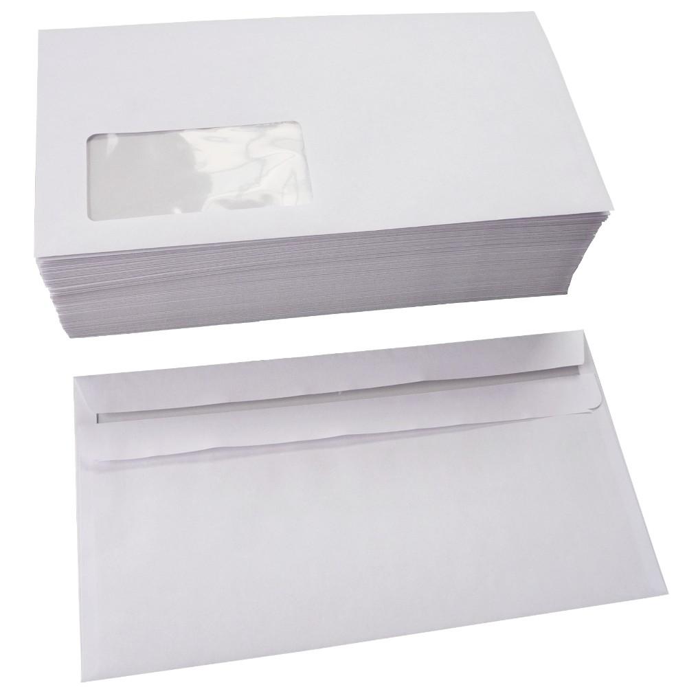 Briefumschläge selbstklebend m. Fenster 110x220 mm DIN lang 75 g/m²