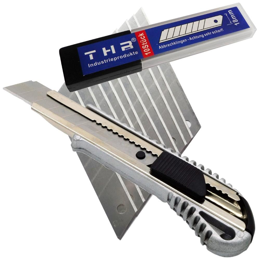 Profi Alu Cuttermesser Teppichmesser 18 mm oder Ersatzklingen 0,5 mm